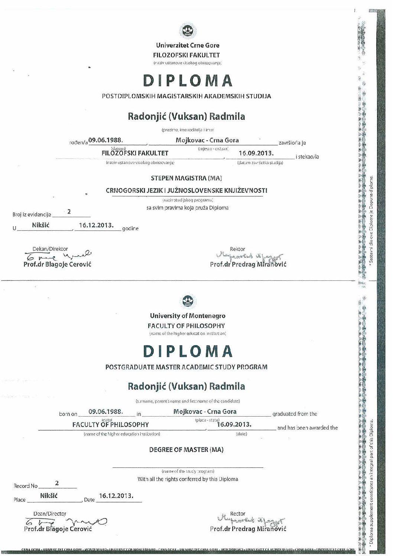 My master diploma (Montenegrin language)