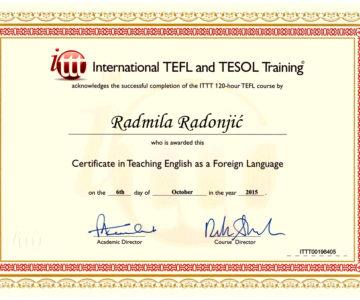 TEFL/ TESOL certificate