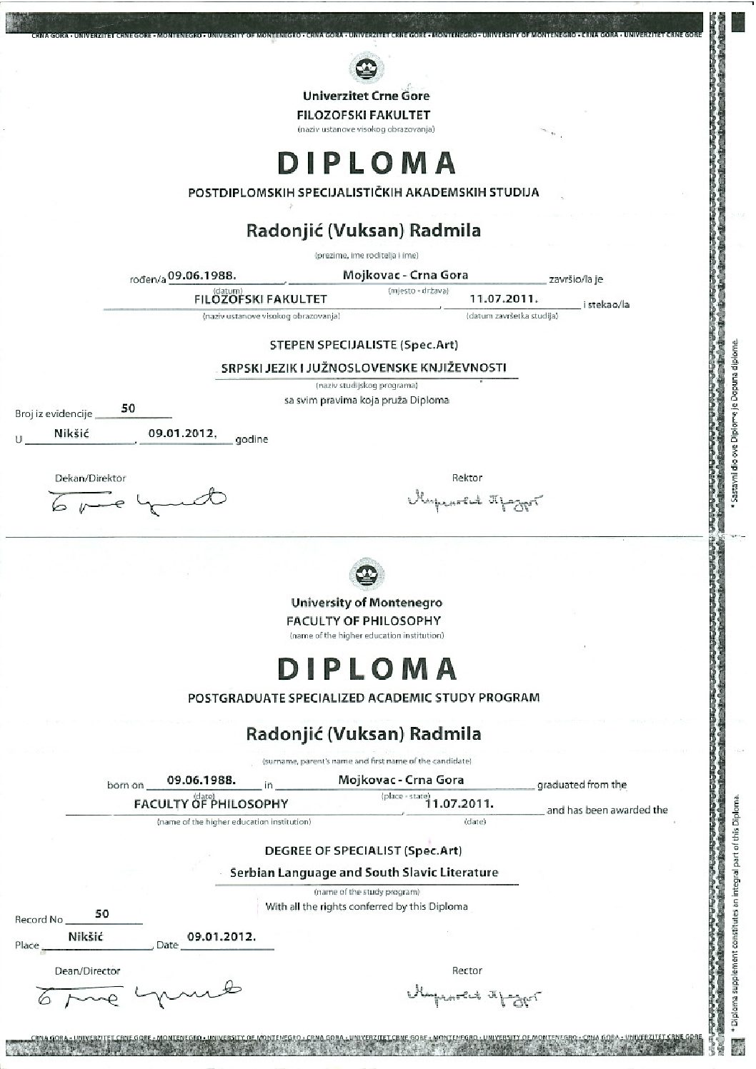 Serbian postgraduate